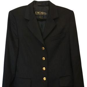 Escada Black Angora Blend Blazer Size 8 M